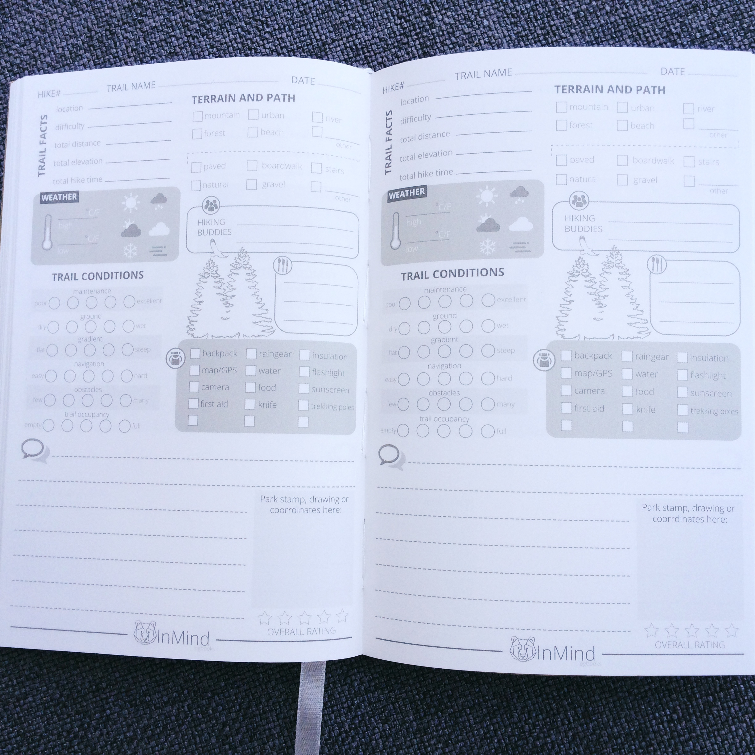 Hiking Logbook pages